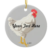 White Chicken Ceramic Ornament