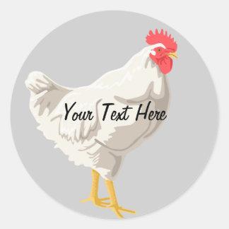 White Chicken Classic Round Sticker