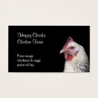 White chicken on black background business card