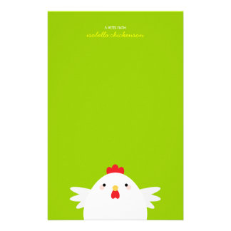 White Chicken on Green Note Paper Stationery