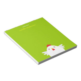 White Chicken on Green Personalizable Notepad