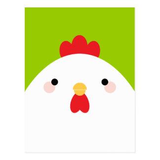 White Chicken on Green Postcards Postcard
