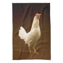 White Chicken Rooster Hen Towel