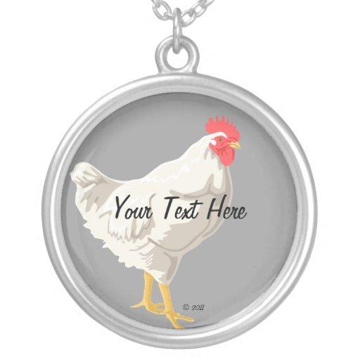 White Chicken Round Pendant Necklace