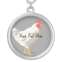 White Chicken Silver Plated Necklace