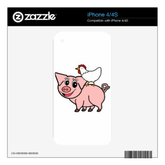 White Chicken Standing on Pink Pig Skin For iPhone 4