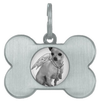 White Chihuahua Angel Wings Pet Tag