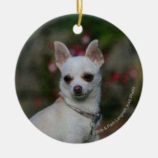 White Chihuahua Ceramic Ornament