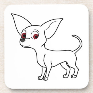 White Chihuahua Beverage Coaster
