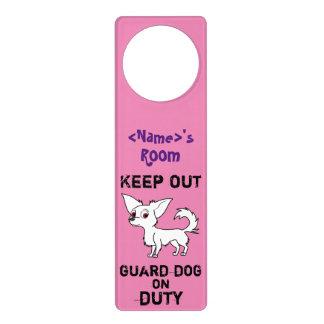 White Chihuahua Guard Dog on Duty Door Knob Hangers