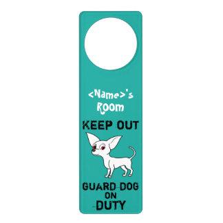 White Chihuahua Guard Dog on Duty Door Hanger