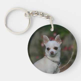 White Chihuahua Acrylic Keychains