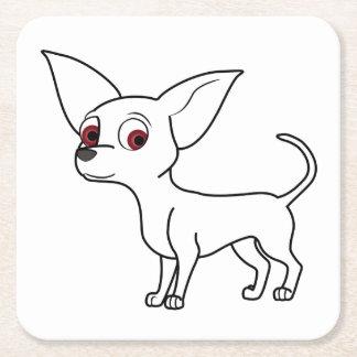 White Chihuahua Square Paper Coaster