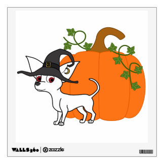 White Chihuahua with Halloween Pumpkin Wall Graphic