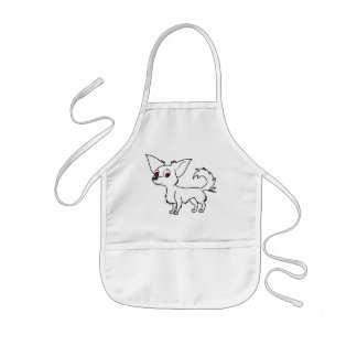White Chihuahua with Long Hair Kids' Apron