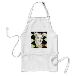 White Chihuahua with Red Ball on Checkerboard Adult Apron