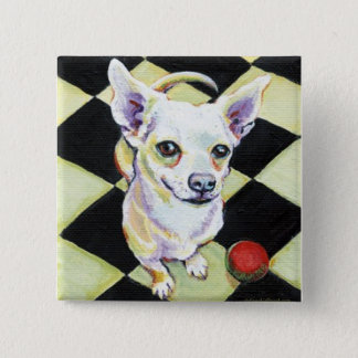 White Chihuahua with Red Ball on Checkerboard Button