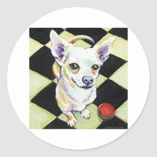 White Chihuahua with Red Ball on Checkerboard Classic Round Sticker