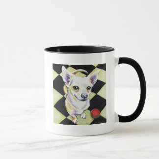 White Chihuahua with Red Ball on Checkerboard Mug