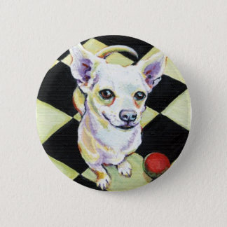 White Chihuahua with Red Ball on Checkerboard Pinback Button