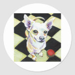 White Chihuahua with Red Ball on Checkerboard Stickers