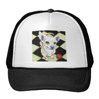 White Chihuahua with Red Ball on Checkerboard Trucker Hat