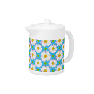 White China Teapot: Daisies, Polkas on Turquoise Teapot