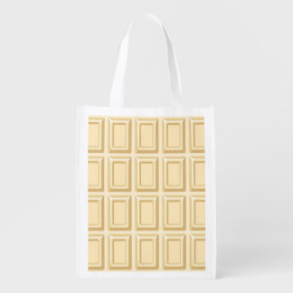 White Chocolate Bar Texture Reusable Grocery Bag