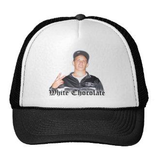 White Chocolate Black Lettering Trucker Hat