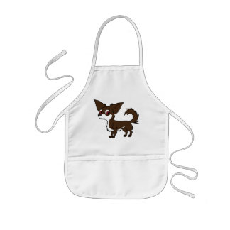 White & Chocolate Chihuahua with Long Hair Kids' Apron