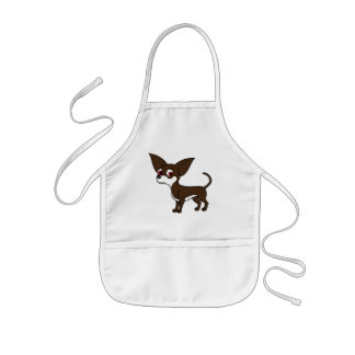 White & Chocolate Chihuahua with Short Hair Kids' Apron