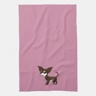 White & Chocolate Chihuahua with Short Hair Kitchen Towel