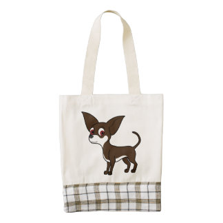 White & Chocolate Chihuahua with Short Hair Zazzle HEART Tote Bag