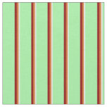 [ Thumbnail: White, Chocolate, Dark Red, and Green Lines Fabric ]