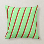 [ Thumbnail: White, Chocolate, Dark Red, and Green Lines Pillow ]