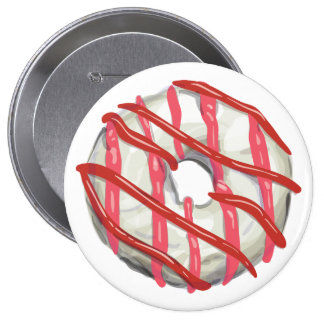 White Chocolate Dipped Doughnut. Pinback Button