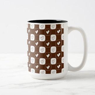 White Chocolate Hearts Two-Tone Coffee Mug