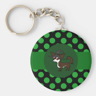 White & Chocolate Long Hair Chihuahua with Dots Basic Round Button Keychain