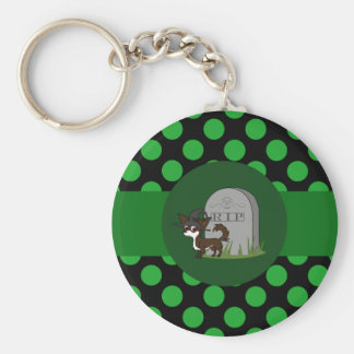 White & Chocolate Long Hair Chihuahua with Grave Basic Round Button Keychain