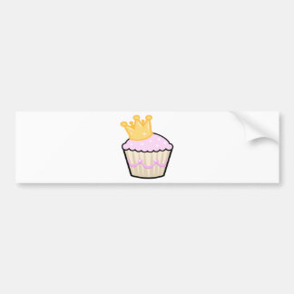 White Chocolate Strawberry Cupcake - Gold Crown Bumper Sticker