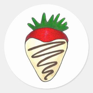 White Chocolate Strawberry Valentine Stickers