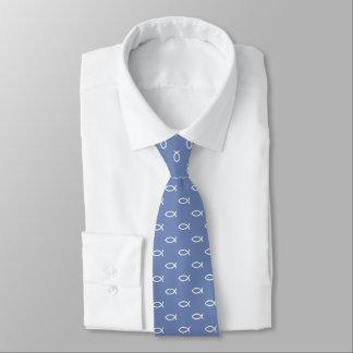 White Christian Fish Symbol Pattern | Blue grey Neck Tie