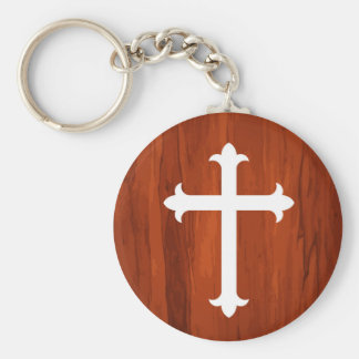 White Christian Holy Cross in Wooden Texture Keyc Basic Round Button Keychain