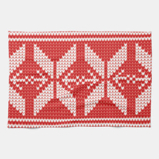 White Christmas Abstract Jumper Knit Pattern Hand Towel