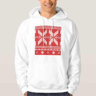 White Christmas Abstract Jumper Knit Pattern Hoodie
