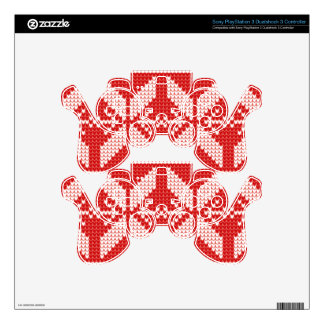 White Christmas Abstract Jumper Knit Pattern PS3 Controller Decals