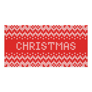 White Christmas Abstract Knitted Pattern Card