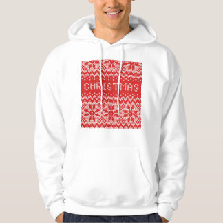 White Christmas Abstract Knitted Pattern Hooded Pullover