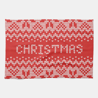White Christmas Abstract Knitted Pattern Kitchen Towels