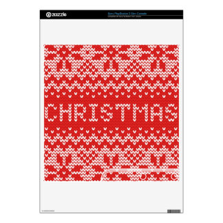 White Christmas Abstract Knitted Pattern PS3 Slim Console Decals
